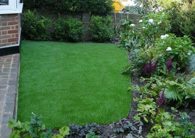 Front garden with artificial lawn